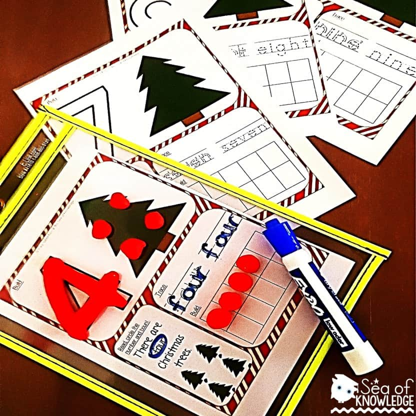 Christmas Math Number Sense Activities Dough Mats Free
