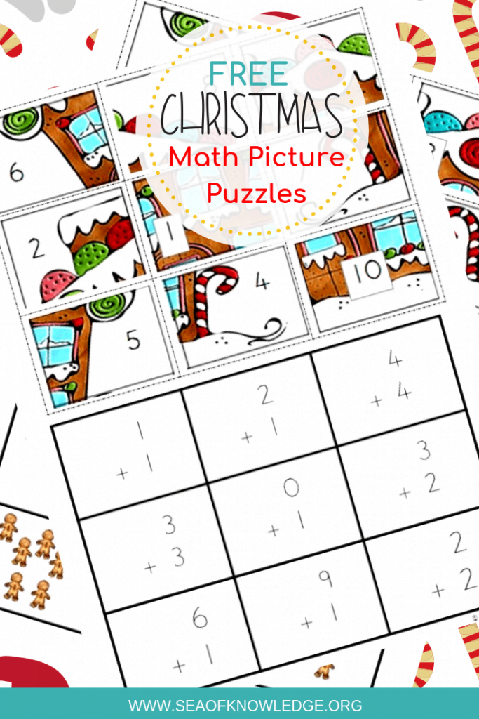Free CHristmas Math Puzzles. The ultimate engaging math game? Use these Free Christmas Math Puzzles that feature gingerbread men! They will especially love these ones as they try to work out what the 'mystery picture' will be! #math #freeprintable #prek #preschool #teachers