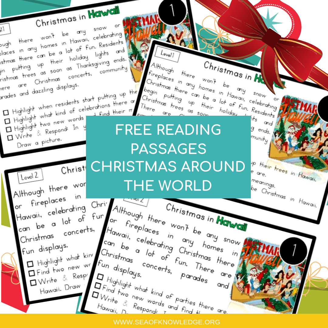 Reading Comprehension Passages Christmas Around the World Hands-on Levelled Task Cards!