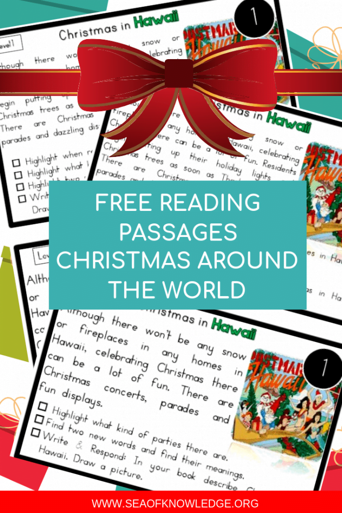 Looking for some fun Reading Comprehension Passages Christmas Around the World? These FREE passages are levelled AND include activities to dig deeper into each text! #freeprintable #christmas #ESL #reading