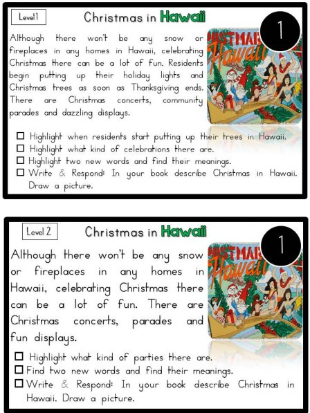 Reading Comprehension Passages Nonfiction Differentiated_ChristmasAroundTheWorld3_FREE