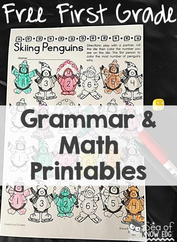 First Grade Language Arts & Math Cut & Paste Activities – Free Monthly Seasonal Download