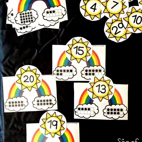 Ten frame counting cards with rainbows.