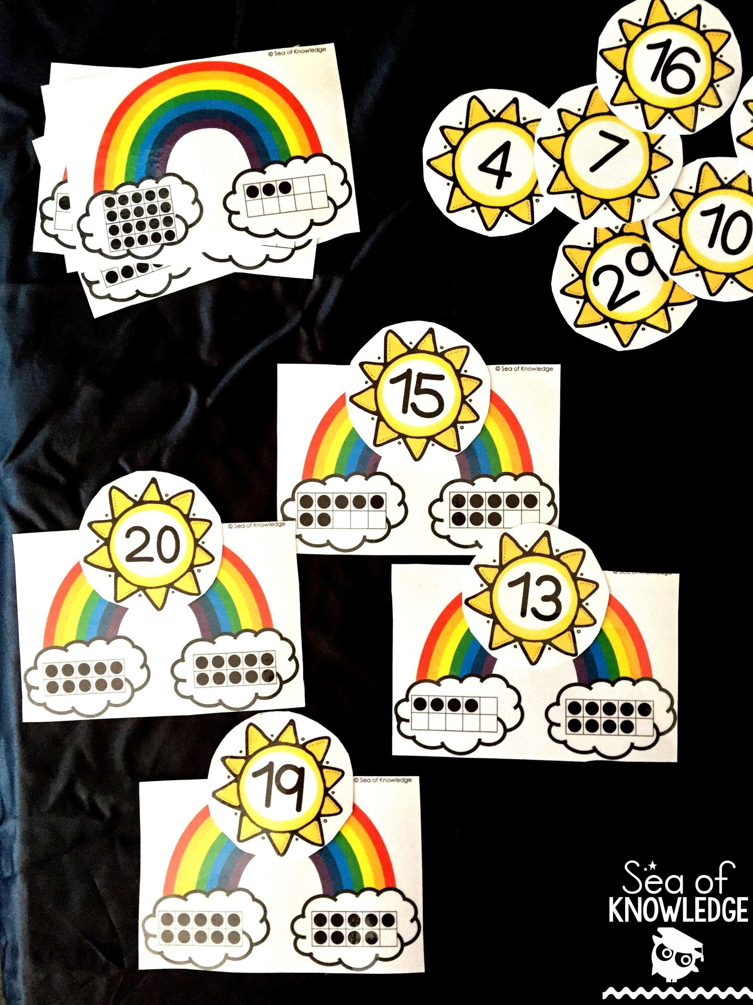 Ten Frame Rainbow Counting Puzzles Free for March 2016 Subscribers