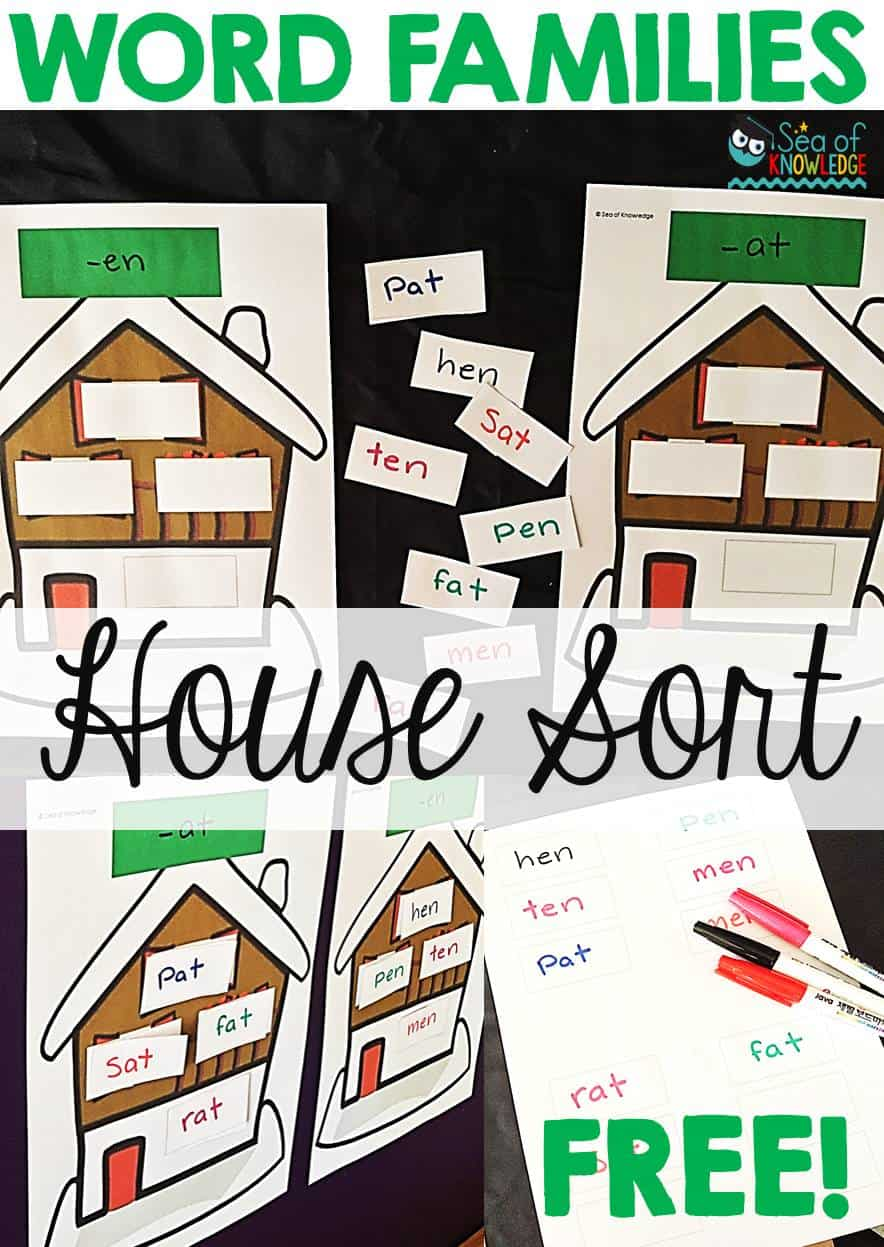 Sorting Word Families in Houses Easy Prep + Free Mat