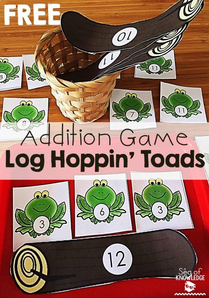 Addition Game Math Activity Kindergarten Log Hoppin' Toads