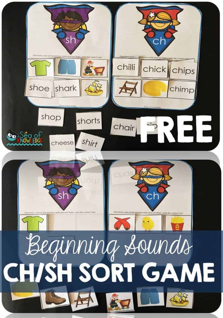 Beginning Sounds Listening Game Sort with Digraphs