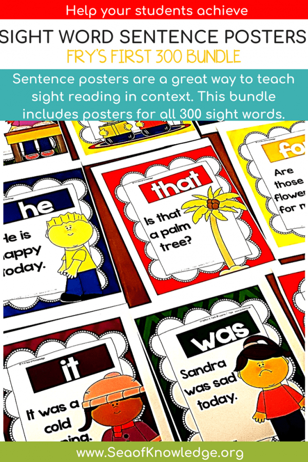 Sight Word Sentence Posters Fry First 300