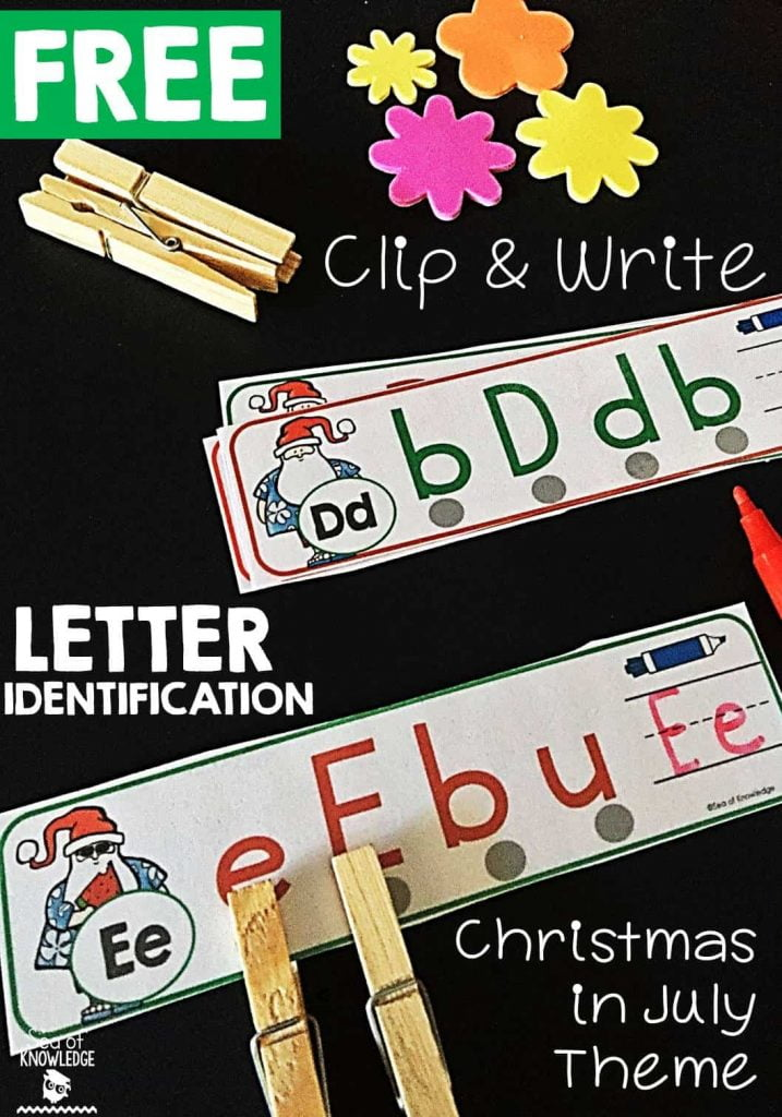 Letter Identification Activity: Read, Clip and Write Christmas in July Theme
