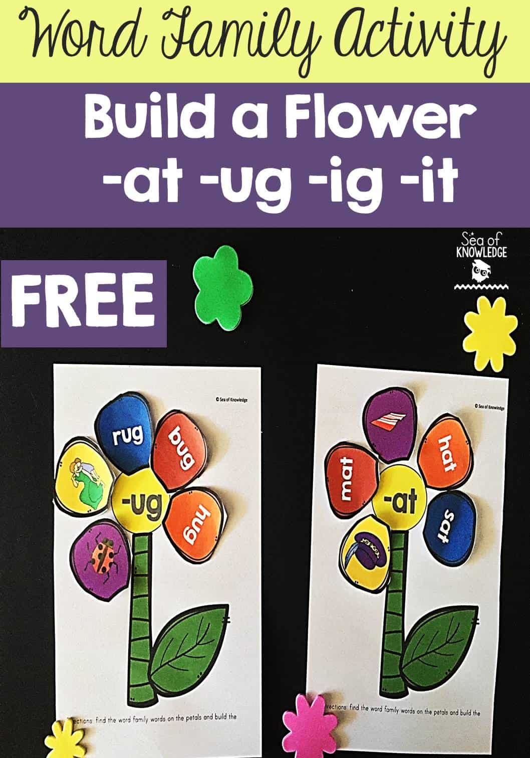 word family activity  build a flower -at -ug -ig -it