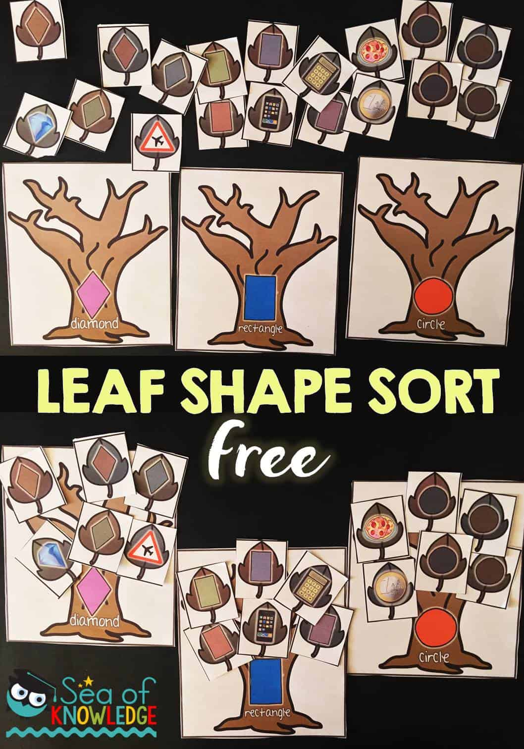 Leaf Shape Sorting Activity Free ITeach K-2 Linky