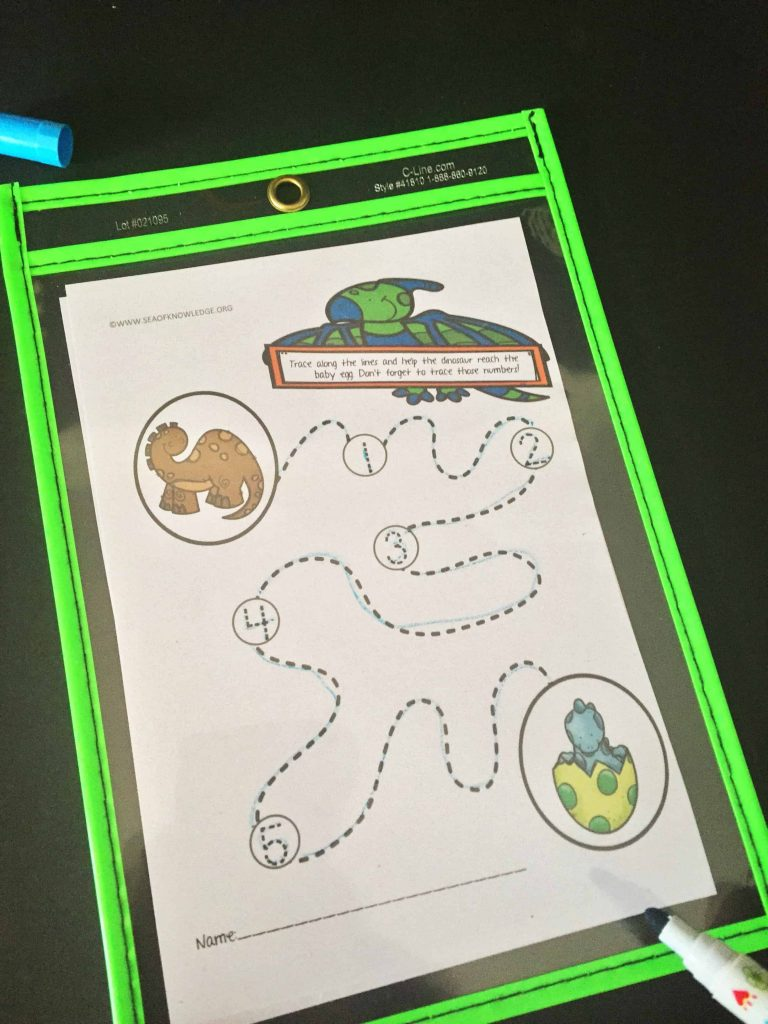Dinosaur Pre-Writing Practice Tracing Pages