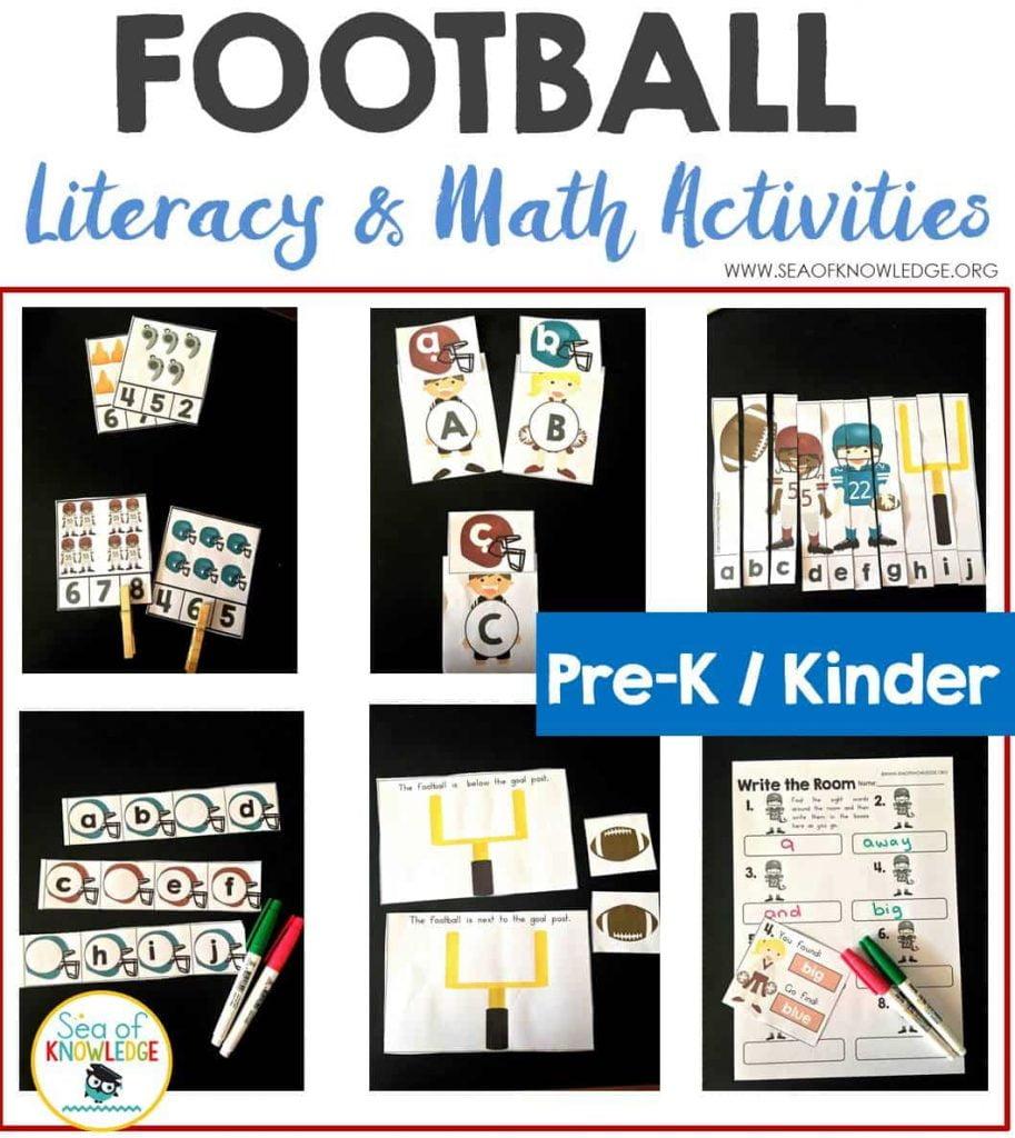 Football_Math&LiteracyActivitiesPrekKinders