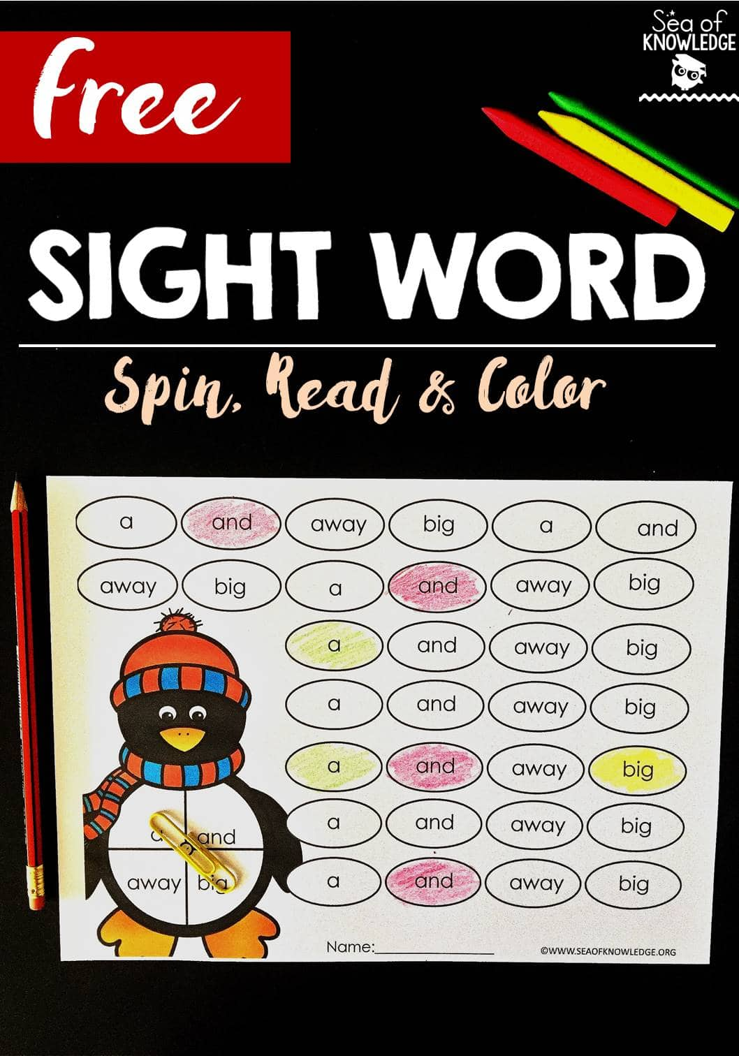 Free Sight Word Spin Read and Color Penguin Themed Blog Post