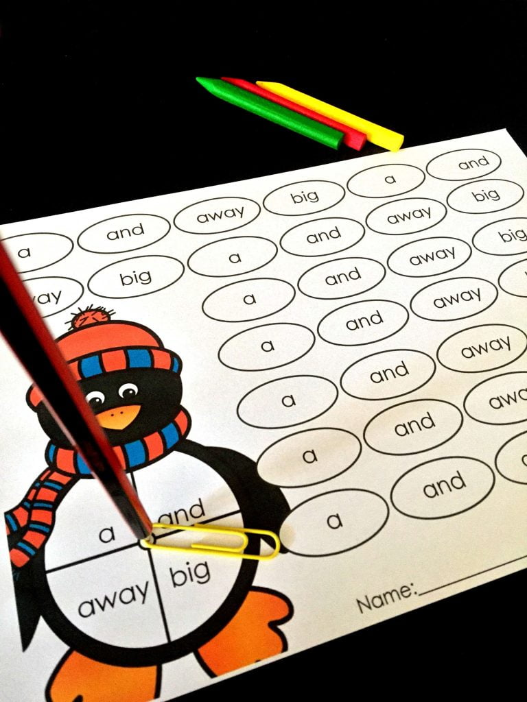 Free Sight Word Spin Read and Color Penguin Blog Post