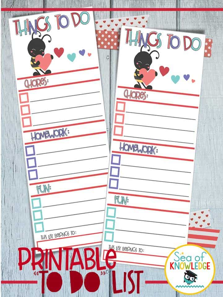 How to encourage kids to do their homework FREE printable to do list