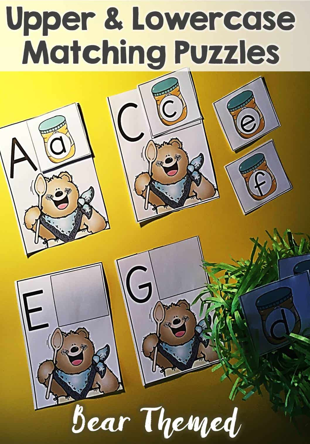 Upper and Lowercase Matching Puzzles Bear Themed