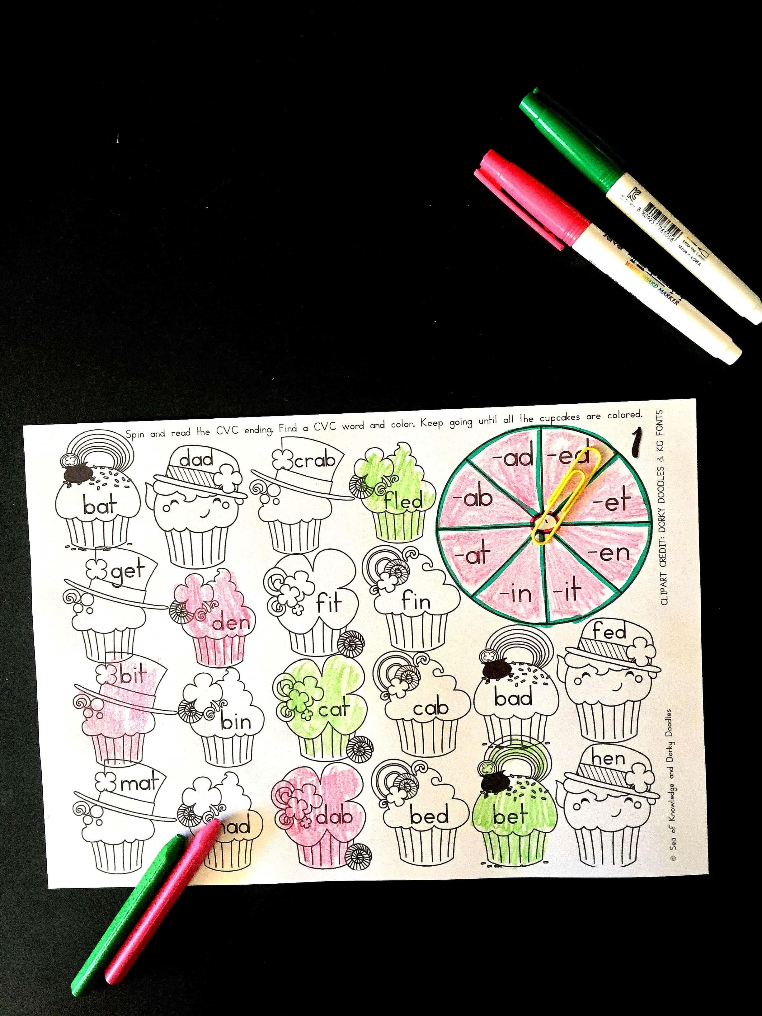 CVC Spin & Color St. Patrick's Day Freebie