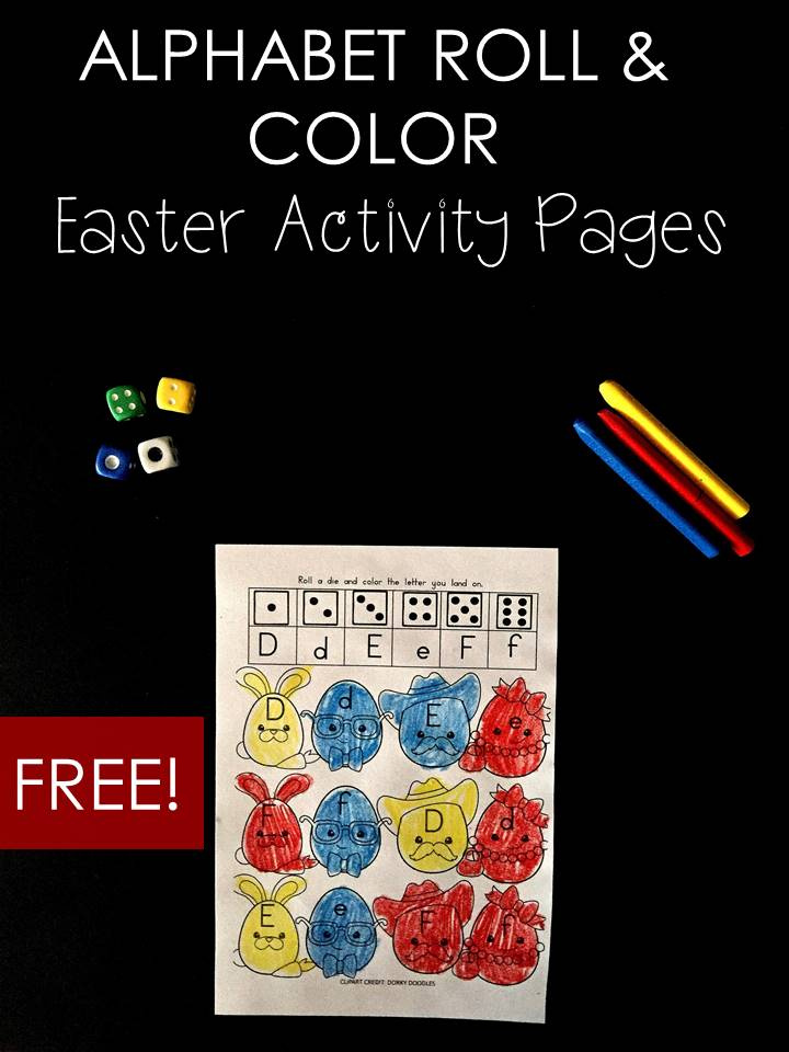 Alphabet Identification Activity Roll and Color Easter Themed
