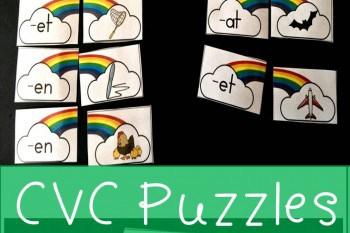 Rainbow Word Family CVC Puzzles Free