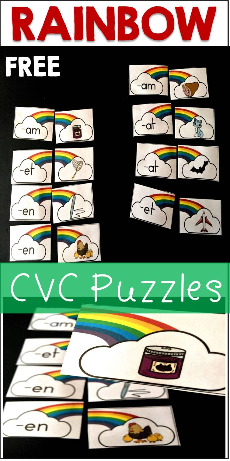 Rainbow Word Family CVC Puzzles Free