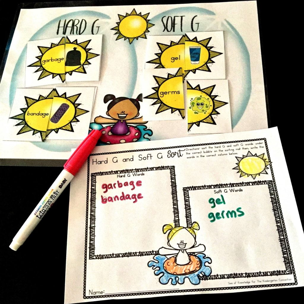 Hard and Soft G Sound Sort Sun Puzzles