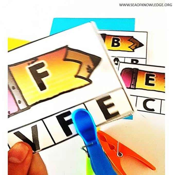 Free Uppercase Matching Clip Cards Back to School