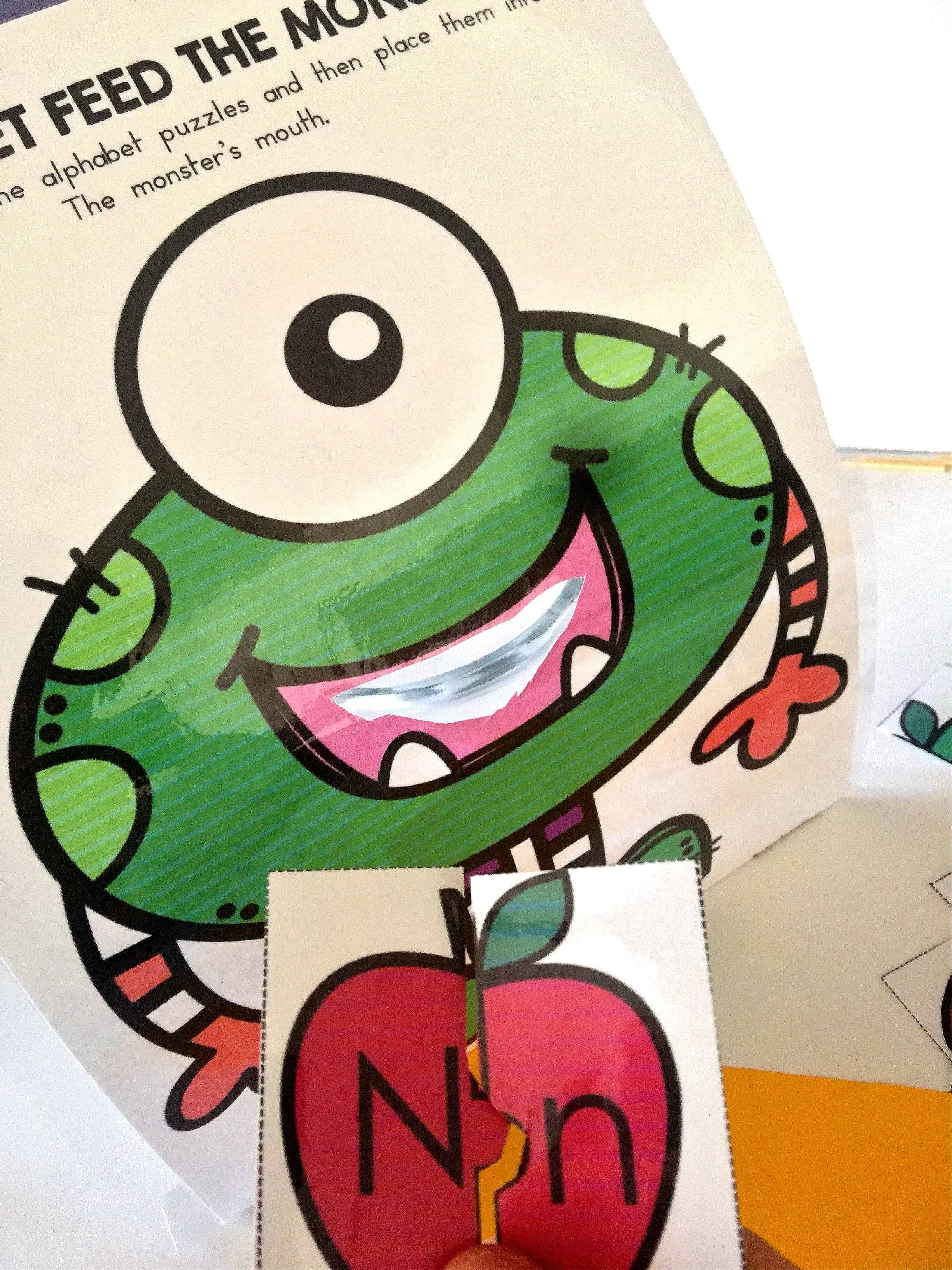 Feed the Monster Alphabet Puzzles