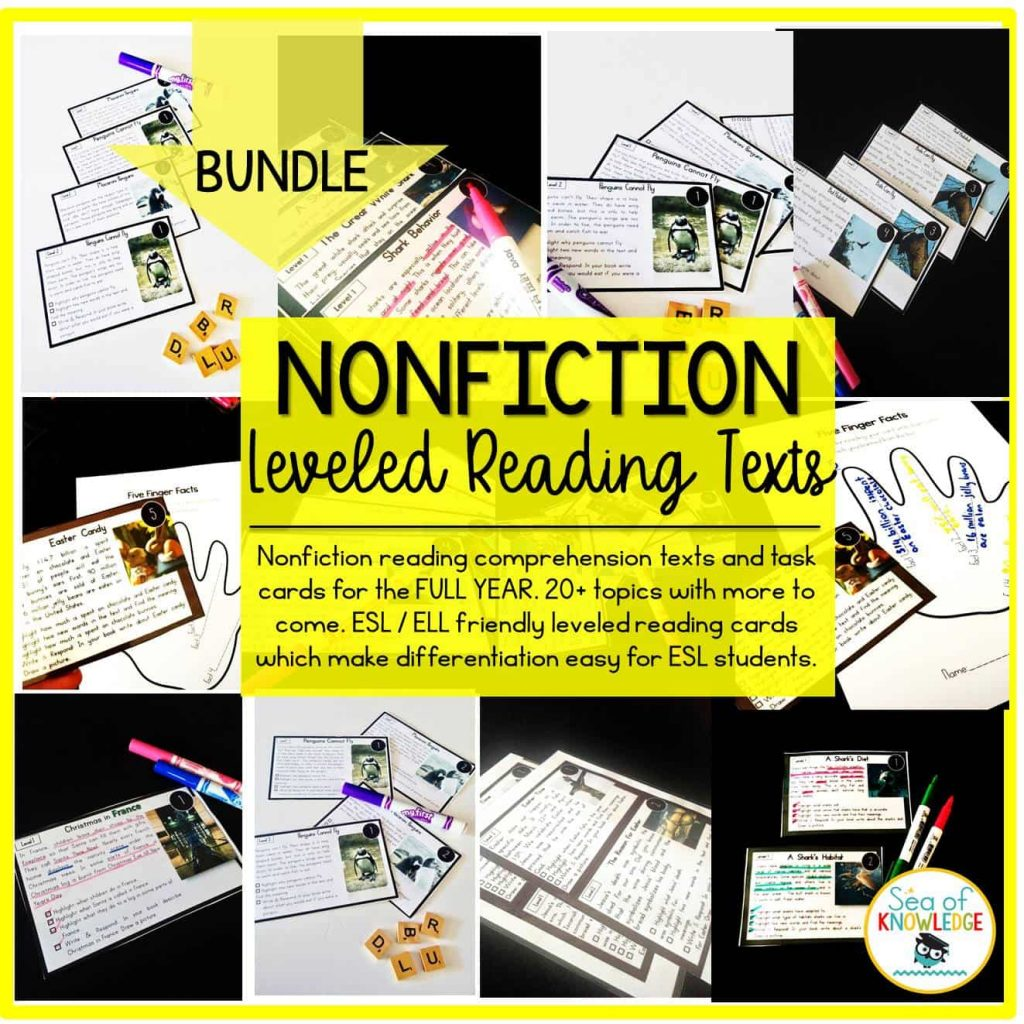 Leveled Nonfiction Task Cards Bundle