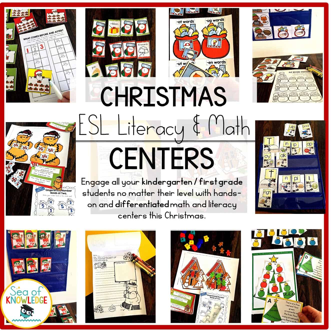 ESL Math and Literacy Christmas Centers
