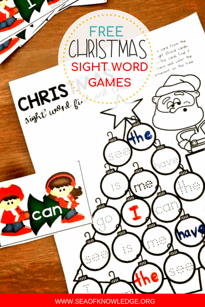 Free Printable Christmas Sight Word Games: Need a fun way to get kids reading their sight words? This fun Christmas themed printable will get ALL your students involved and learning! Even my ESL students LOVED this activity.