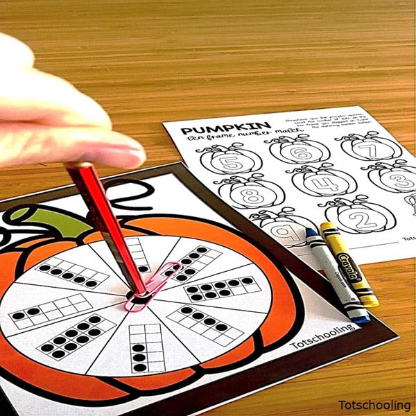 Pumpkin Number Ten Frame Matching Spin Game