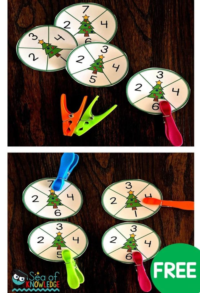 Preschool Fine Motor Christmas Centers and Activities: preschool kids need lots and lots of hands-on activities. These centers include hands-on fine motor math and literacy centers to help engage every preschooler this season! Download your free printables from this post! #freeprintables #free #kids #christmas