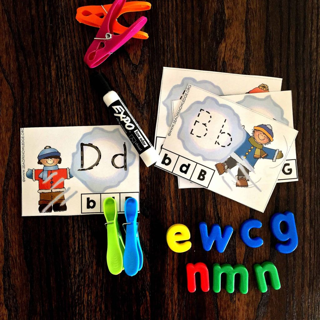 Letter Tracing Activities Winter Theme Fantastic Multi-sensory Clip Cards!