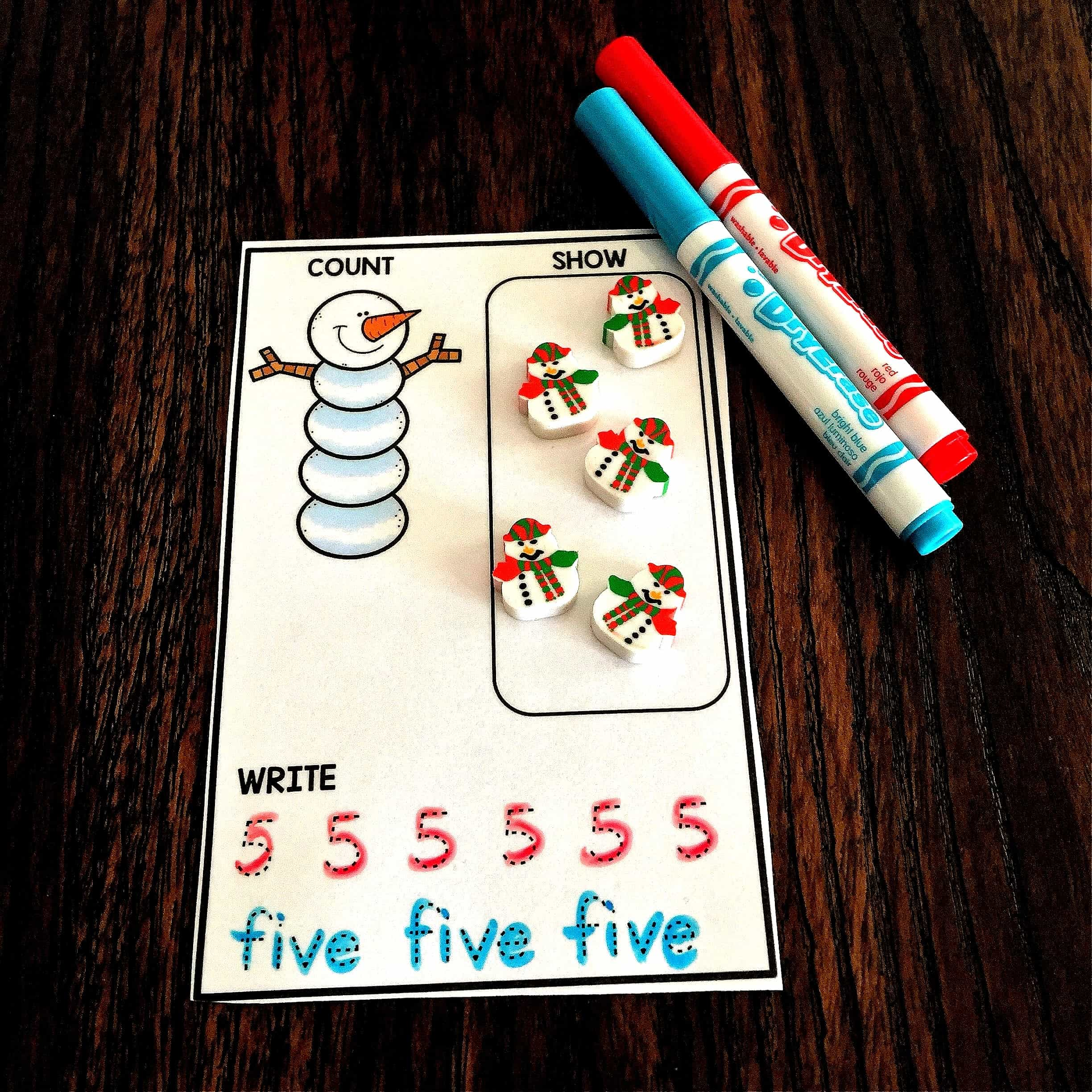 Winter Theme Counting Cards Free