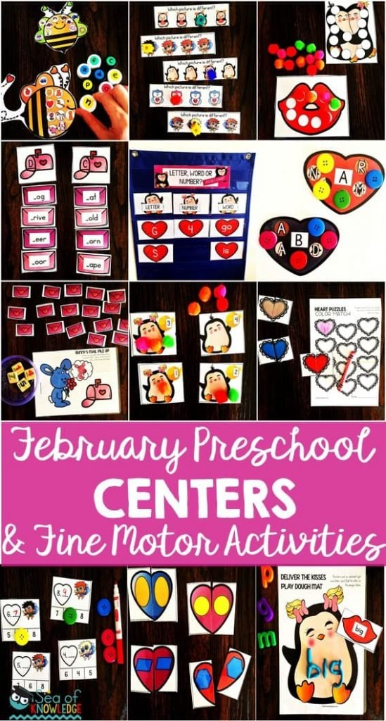 February Preschool Centers and Fine Motor Activities