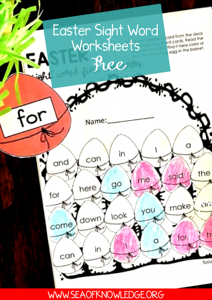Easter Sight word recognition is an essential reading skill to develop in preschool and kindergarten. These Easter sight word worksheets will get your students engaged and HAPPY to learn their sight words! #sightwords #preschool #kindergarten #prek #reading #freeprintable
