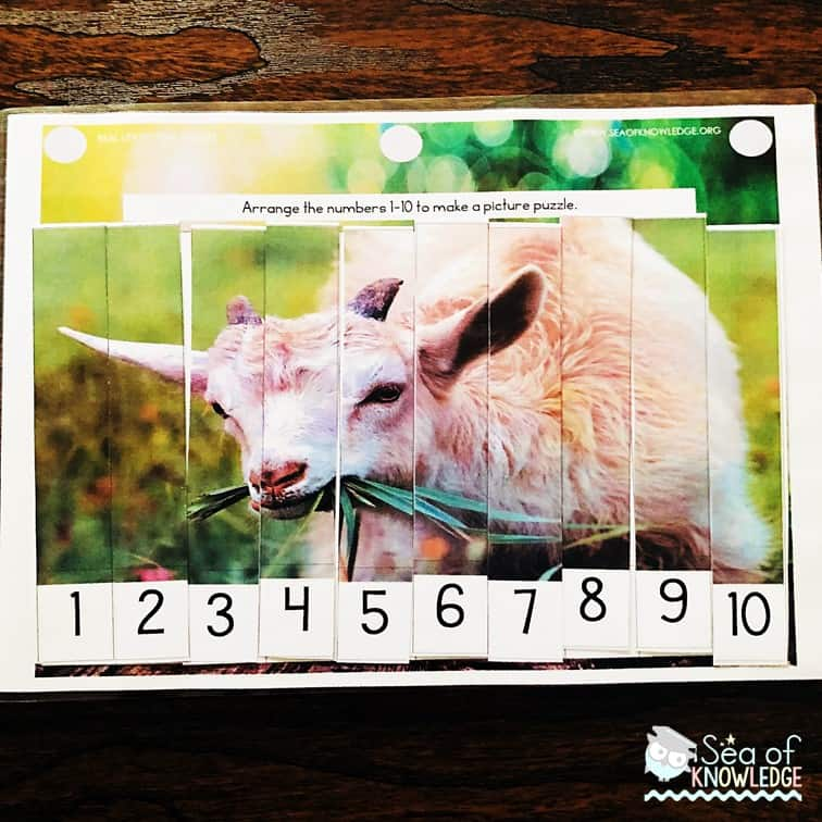 Free Montessori Inspired Farm Animals Counting to 5 and 10 Puzzles