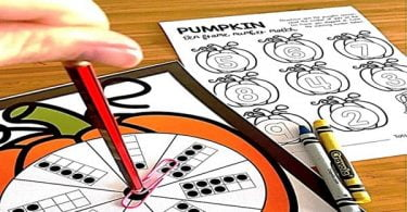 Pumpkin math ten frame spin and color