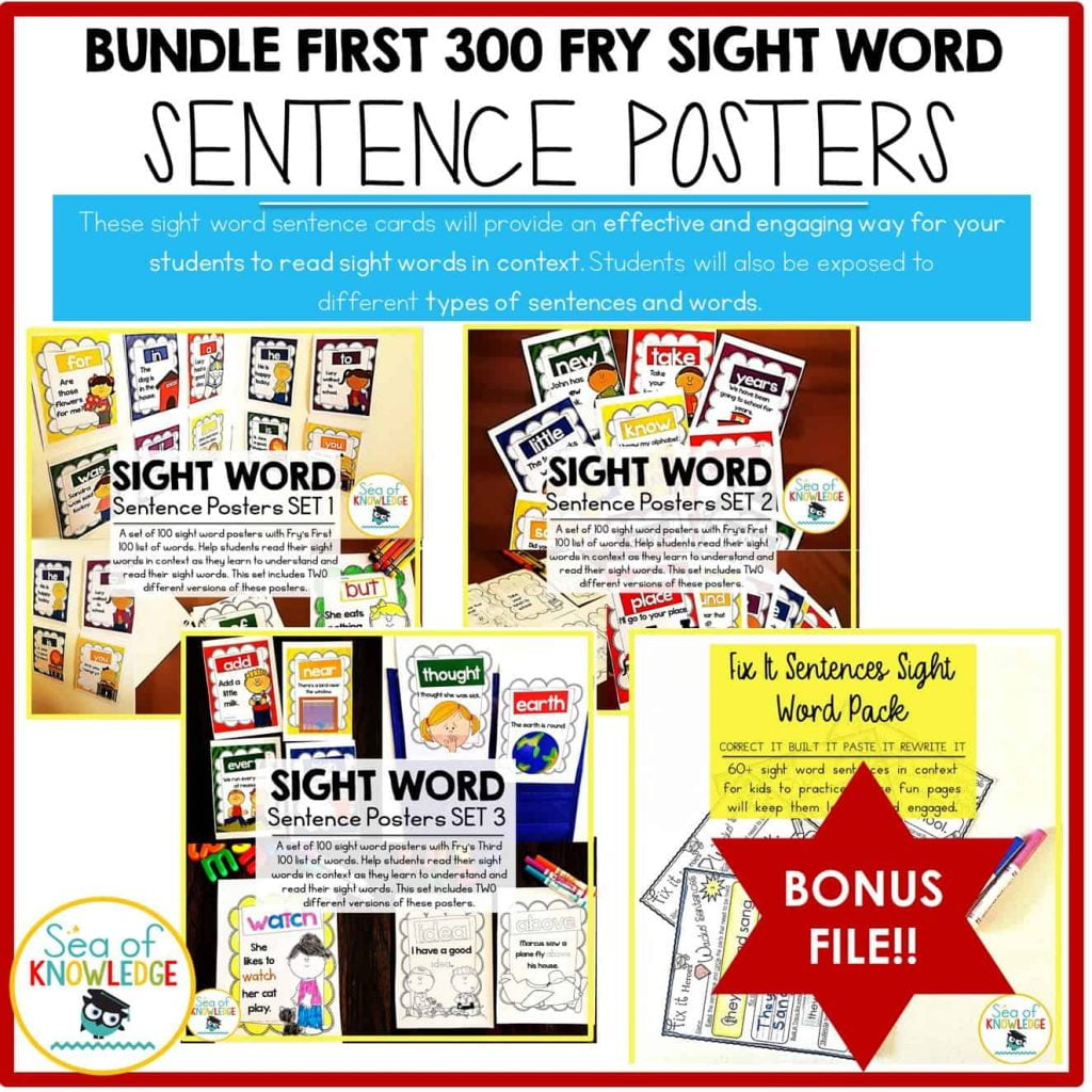 Sight Word Sentences Posters Bundle