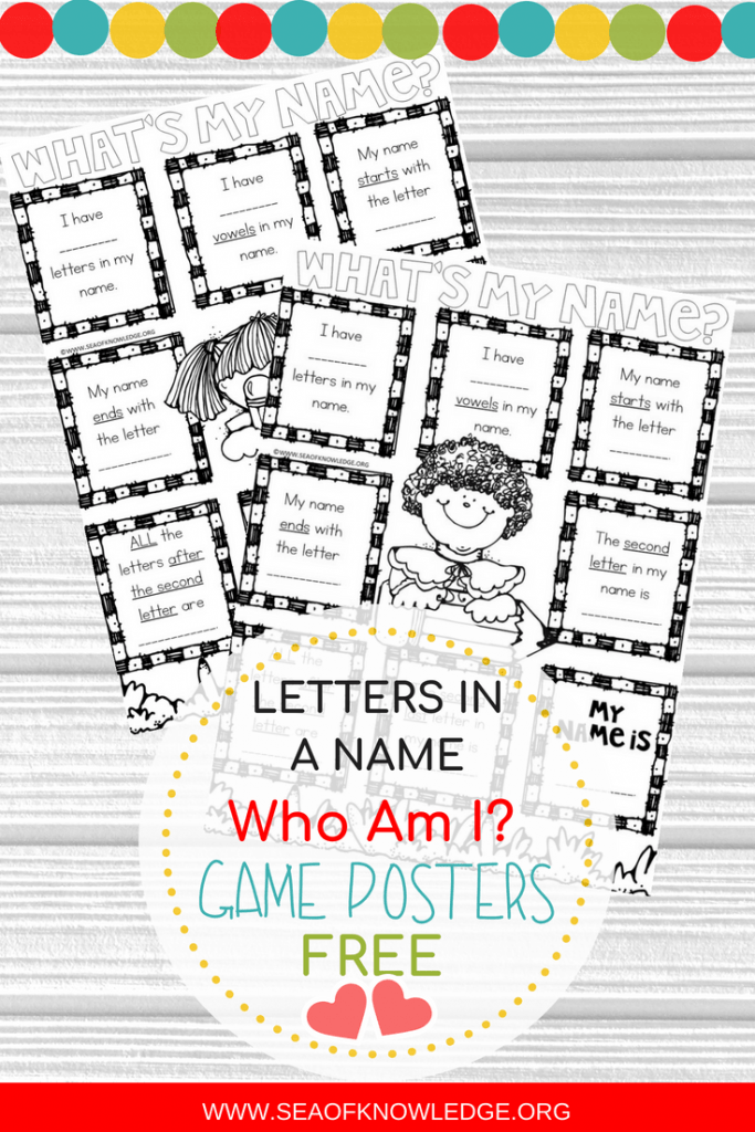 Name Games for Kids Who Am I Posters FREE. #backtoschool #freeprintable #namegames #names #learningnames #firstgrade