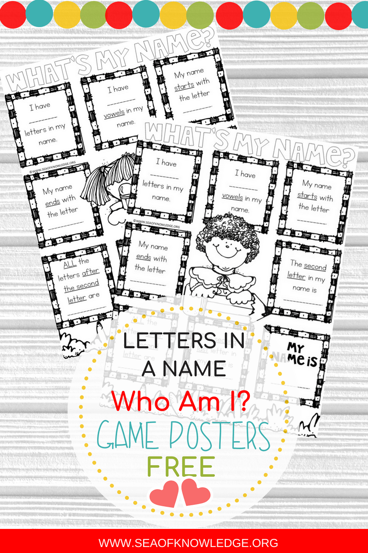 Name Games for Kids Who Am I Posters