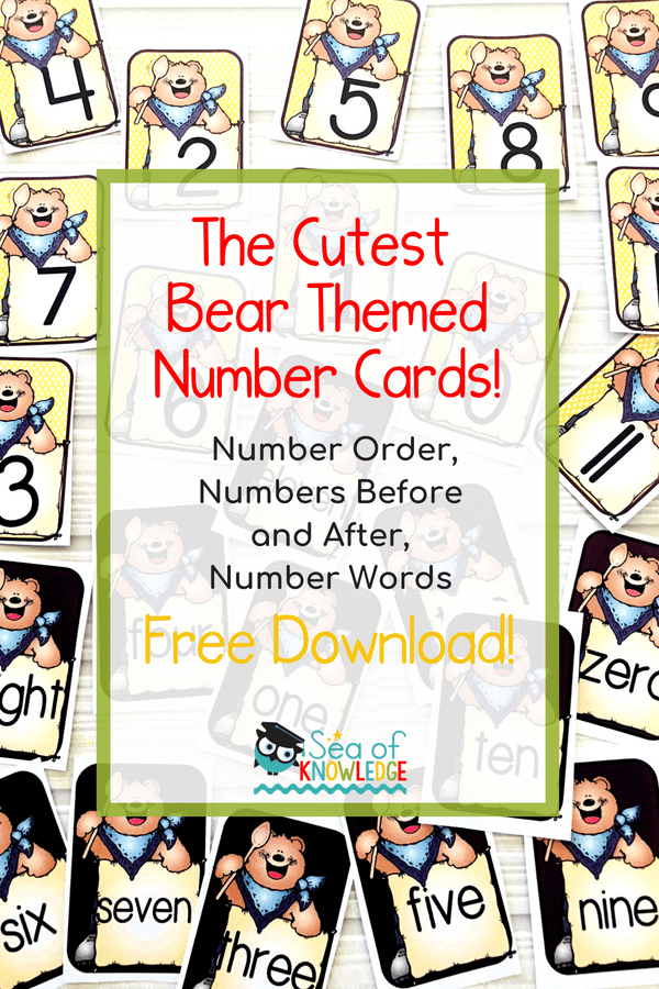 Download the CUTEST Free Printable Numbers Cards! These are bear themed and include number digits and words. Read all about FUN games and ideas to use them!