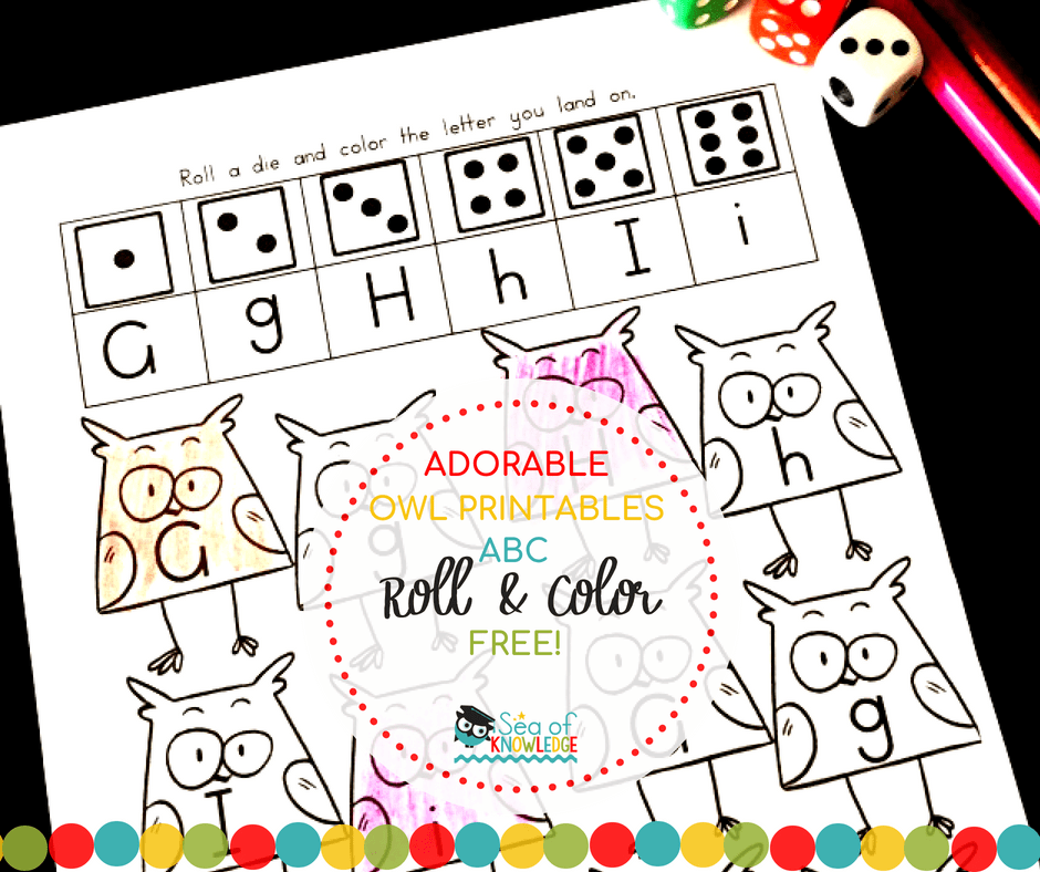 ABC Owl FREE Roll and Color Printables