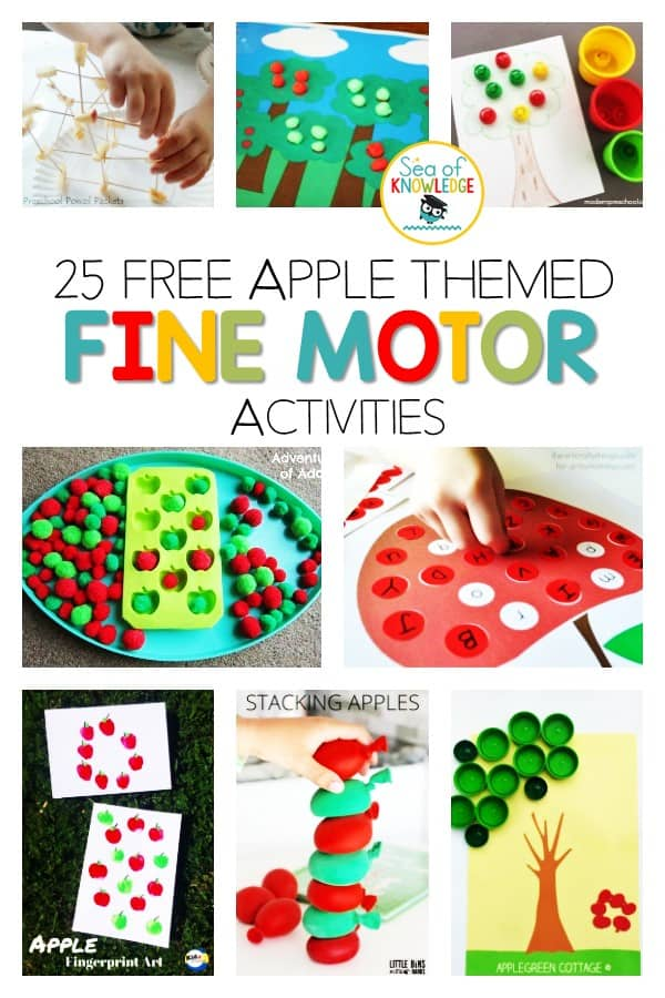Looking for activities and ways you can enhance fine motor skills in childhood? You don't want to miss this roundup of fun activities! Use these fun and engaging apple themed activities during autumn or fall! The kids will build their fine motor and pre-writing skills along with a number of literacy and math skills.