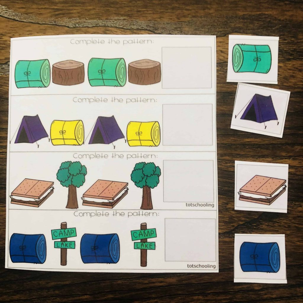 Making Patterns Preschool FREE Camping Theme Mats