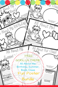 FREE gorilla themes about me worksheets