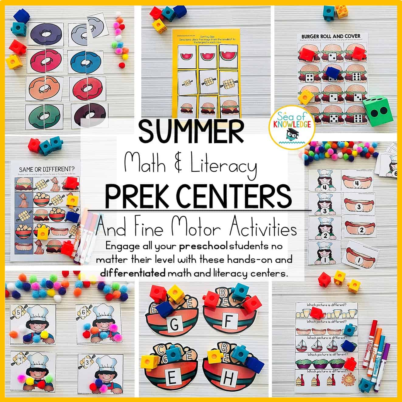 summer preschool math and literacy centers and fine motor activities age 3 sea of knowledge. Black Bedroom Furniture Sets. Home Design Ideas