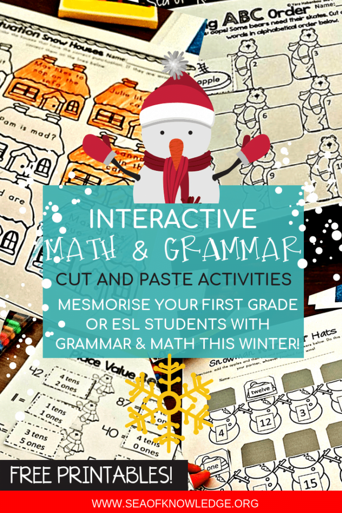 These English grammar activities will make for a FUN and exciting grammar practice in class, at home or even over the summer! These exciting winter themed cut and paste first grade printables will leave your students asking for more GRAMMAR activities! #freeprintable #ESL #grammar #firstgrade