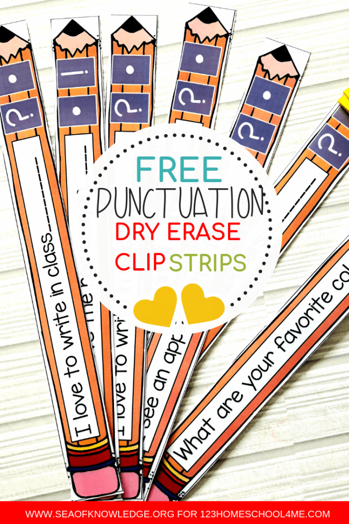 These English Punctuation activities will make for a FUN and exciting grammar station! Laminate and re-use these strips as needed! #freeprintable #ESL #grammar #firstgrade